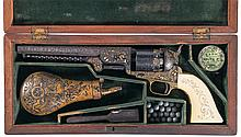 Historic Elaborate Embellished Gold and Silver Inlaid and Relief Engraved Cased Colt Model 1851 Navy Percussion Revolver with Scrimshawed Grips Inscribed to Major Frederick Hardy 84th Regiment
