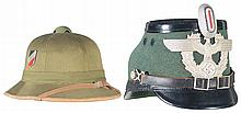 One Luftwaffe Tropical Pith Helmet and a Nazi Police Shako