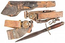 Two Confederate Style Leather Belts One Dagger and One Holster
