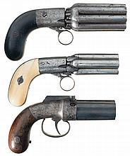 Three Engraved Percussion Pepperbox Revolvers -A)  Mariette Brevete Eight Barrel Pepperbox