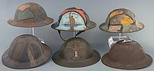 Grouping of World War I Brodie Style Trench Art Helmets