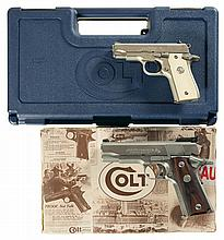 Two Colt Semi-Automatic Pistols with Cases -A) Colt MK IV Government Model Series 80 .380 Pistol