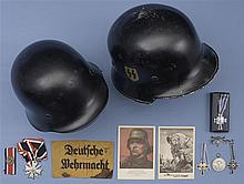 Assorted German Military Helmets and Medallions