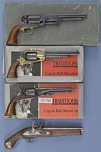 Four Reproductions Handguns -A) Traditions Model 1847 Walker Percussion Revolver with Box