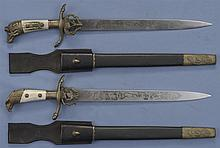 Two Weyersberg (Solingen) Post War Production Hunting Swords with Scabbards and Hangers