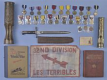 World War I Trench Art with Books, Decorations and Bayonet