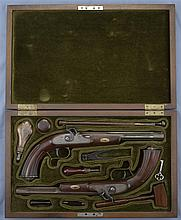 Cases Pair of Dueling Pistols -A) Percussion Pistol with Case and Accessories
