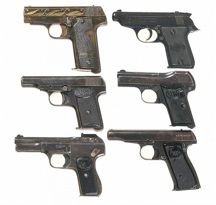 Six Semi-Automatic Pistols -A) Engraved Star Automatic Pisto
