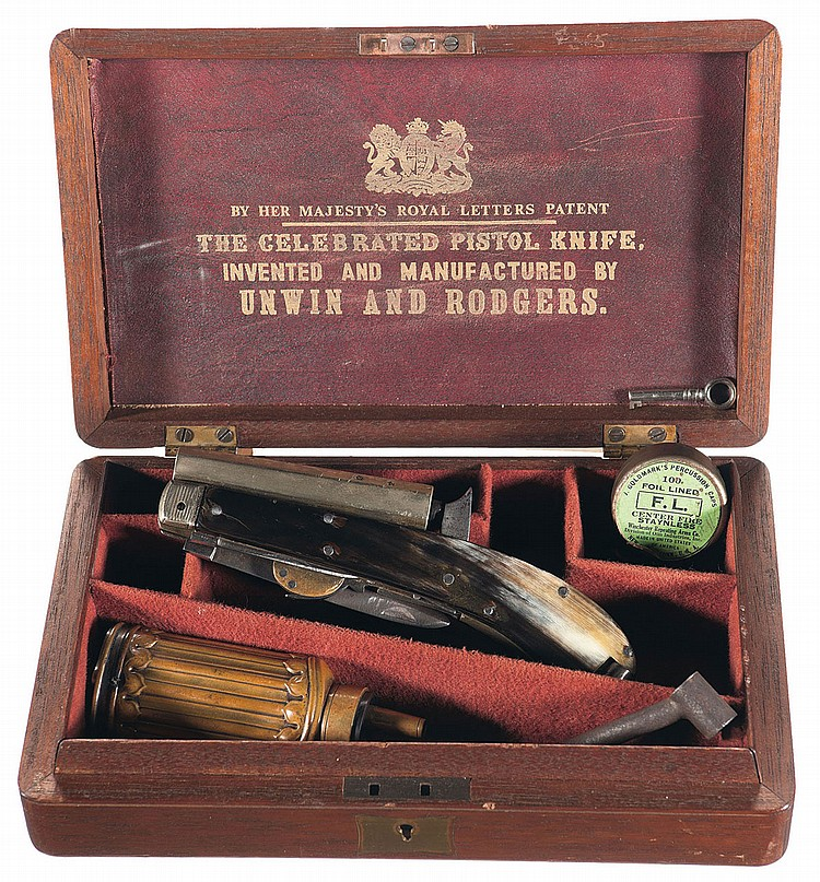 Unwin & Rodgers Double Blade Knife Pistol with Accessories and Custom Case