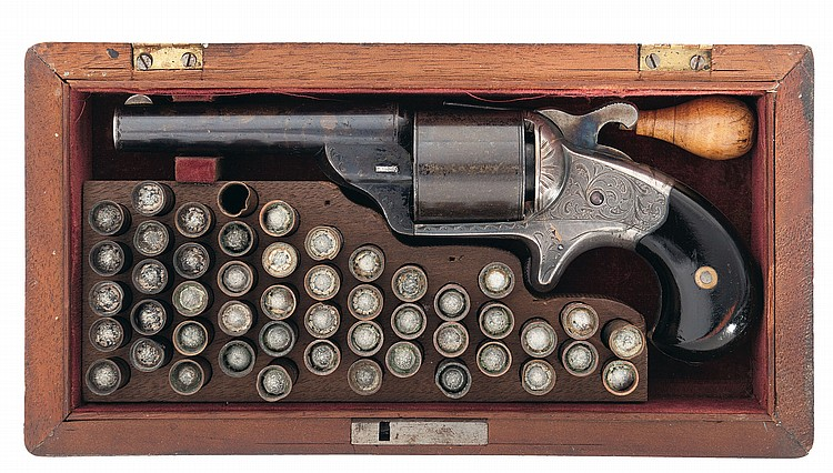Very Fine Factory Cased Engraved Moore Teat-Fire Revolver