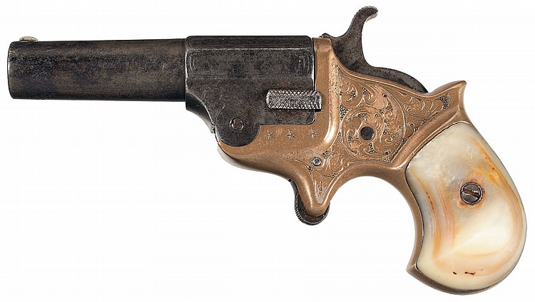 Rare Factory Engraved C.H. Ballard Single Shot 41 Caliber Derringer with Pearl Grips