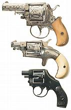 Three Revolvers -A) Engraved British Bull-Dog Double Action Revolver