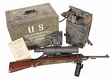 World War II Inland Mfg. M1 Carbine with American Optical Co. M3 Infrared Sniper Scope, Power Pack, Mounting Bar and Carrying Case