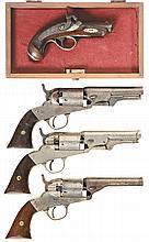 Four Antique Handguns -A) Philadelphia Derringer Percussion Pistol