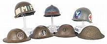 Grouping of World War I and World War II Style Helmets