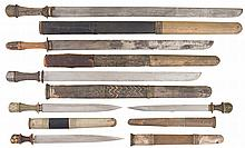 Three Swords and Three Daggers with Scabbards