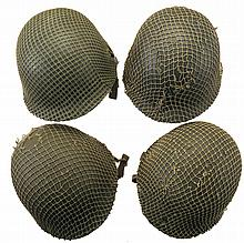 Four U.S. Style M1 Helmets with Helmet Nets