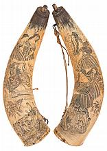 Two Massive Scrimshawed Powder Horns with Christian Missionary Scenes