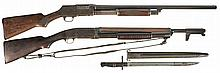Two Military Style Slide Action Shotguns -A) Wards Western Field Model 35 Shotgun with