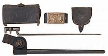 Lot Of Two U.S. Pouches, Leather Belt, and a Socket Bayonet with Scabbard and Frog