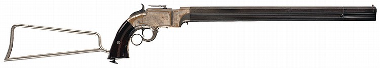Unique Serial Number 8 Documented Volcanic Lever Action Pistol-Carbine with Detachable Stock Pictured in