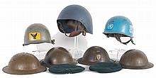 Grouping of Military Helmets and Berets