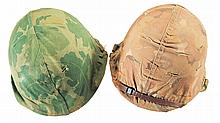 Two U.S. Style M1 Helmets with Covers