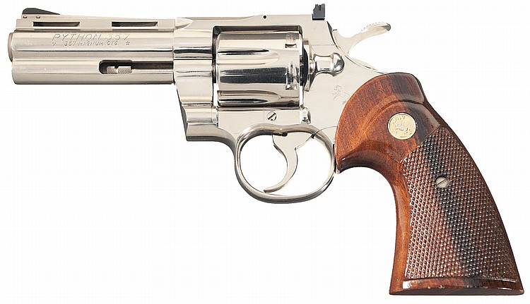 Colt Python Double Action Revolver in Nickel Finish