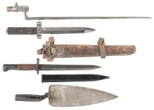 Four Bayonets and One Leather Bayonet Carrier