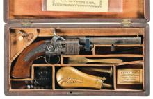 Factory Engraved and Cased Mass. Arms Co. Wesson & Leavitt Belt Model Percussion Revolver with Accessories