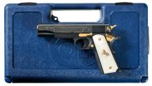 Lew Horton Engraved and Gold Highlighted Colt 38 Super Government Model Gold Premier Edition Semi-Automatic Pistol with Case