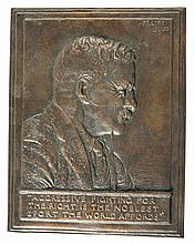 Theodore Roosevelt Bronze Bas Relief Portrait Plaque by James Earle Fraser