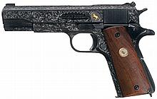 Engraved Colt Super 38 Model Semi-Automatic Pistol