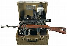 World War II Winchester M1 Carbine with American Optical Co. M3 Infrared Sniper Scope Power Pack Mounting Bar and Carrying Case