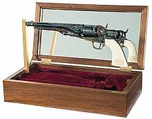 Master Engraved John Adams Sr. Signed Colt Black Powder Series Civil War North-South Commemorative Percussion Revolver with Display Case Books and Box