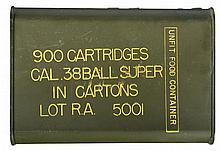 Very Rare Original Sealed 900 Round Can of Military Issue .38 Super Ammunition