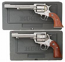 Collector's Lot of Two Ruger Single Action Revolvers with Cases -A) Ruger New Model Super Blackhawk Single Action Revolver