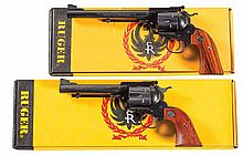 Two Boxed Ruger Single Action Revolvers -A) Ruger New Model Blackhawk Bisley Single Action Target Revolver