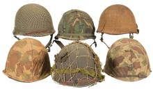 Six M1 Style Military Helmets with Covers and Seven Knives with Sheaths