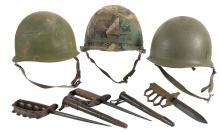 Three U.S. M1 Helmets and Three Trench Knives