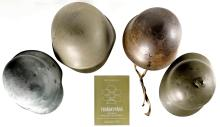 Four Military Style Helmets and Book