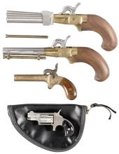 One Miniature Revolver and Three Contemporary Percussion Pistols -A) Classic Arms Duckfoot Percussion Pistol