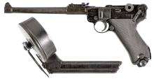 Blank Firing Japanese Copy of an Artillery Semi-Automatic Pistol with Drum Magazine
