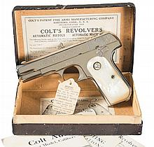 Exceptional Colt Model 1908 Pocket Hammerless Semi-Automatic Pistol with Factory Pearl Grips, Factory Letter and Original Box