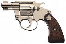 Excellent Colt Banker's Special 22 Double Action Revolver in Nickel