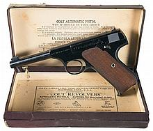 World War II Production Colt First Series Woodsman Sport Model Semi-Automatic Pistol with Original Box