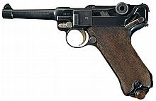 Erfurt 1918 Dated Model 1914 Death's Head Marked Luger Semi-Automatic Pistol Rig with Matching Magazine