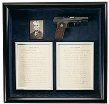 Exceptional Documented World War II Issue U.S. Property Marked.380 Caliber Colt M1908 Semi-Automatic Pistol Owned by Brigadier General E. B. Whisner with Display Case