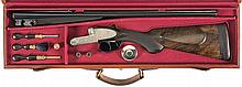 Exceptional Cased Exhibition Grade Pre-War H. Leukers Signed Master Engraved Double Rifle