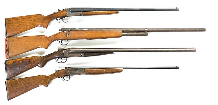 Four Shotguns -A) J. Stevens Springfield Model 5100 Double Barrel Shotgun   B) J.C. Higgins Model 583.16 Bolt Action Shotgun   C) J. Stevens Model 335 Double Barrel Boxlock Shotgun   D) J. Stevens Model 940 Single Barrel Shotgun